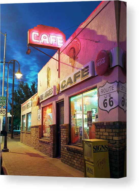 Shadow Canvas Print featuring the photograph Diner Along Route 66 At Dusk by Gary Yeowell