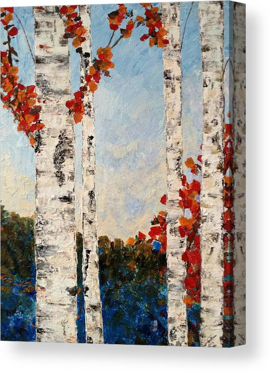 Fall Canvas Print featuring the painting Fall Lake Birches by Judith Cahill