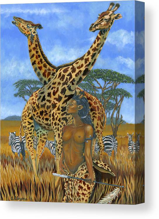 Africa Canvas Print featuring the painting Farsighted by Artimis Alcyone