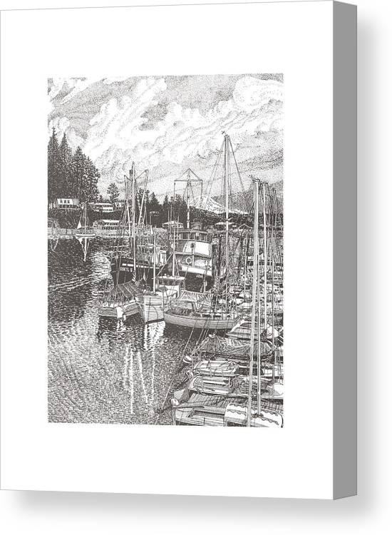 Yacht Portraits Canvas Print featuring the drawing Gig Harbor Entrance by Jack Pumphrey