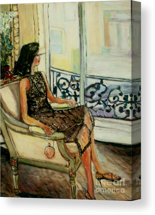 Figurative Canvas Print featuring the painting Heddy by Helena Bebirian
