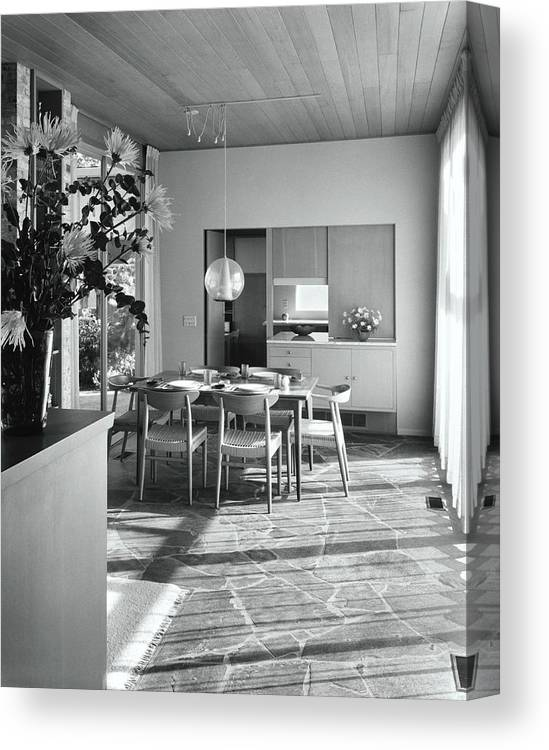 Indoors Canvas Print featuring the photograph House Designed By Roland Terry And Philip Moore by Dearborn-Massar