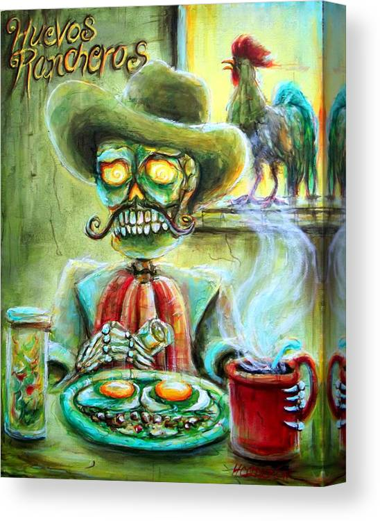 Day Of The Dead Canvas Print featuring the painting Huevos Rancheros by Heather Calderon
