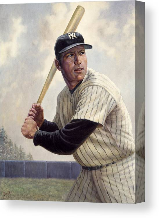 Gregory Perillo Canvas Print featuring the painting Mickey Mantle by Gregory Perillo