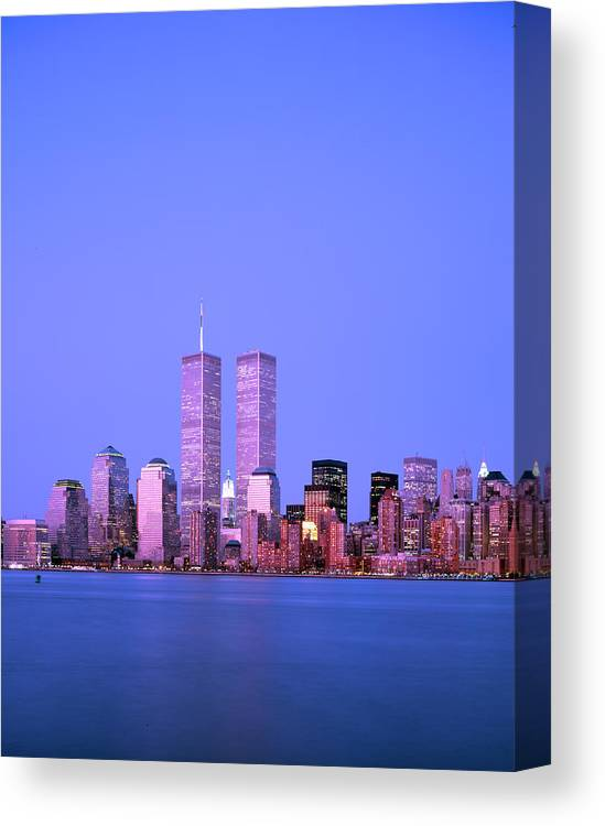 New York City Canvas Print featuring the photograph New York Skyline Before 11th September by Alex Bartel/science Photo Library