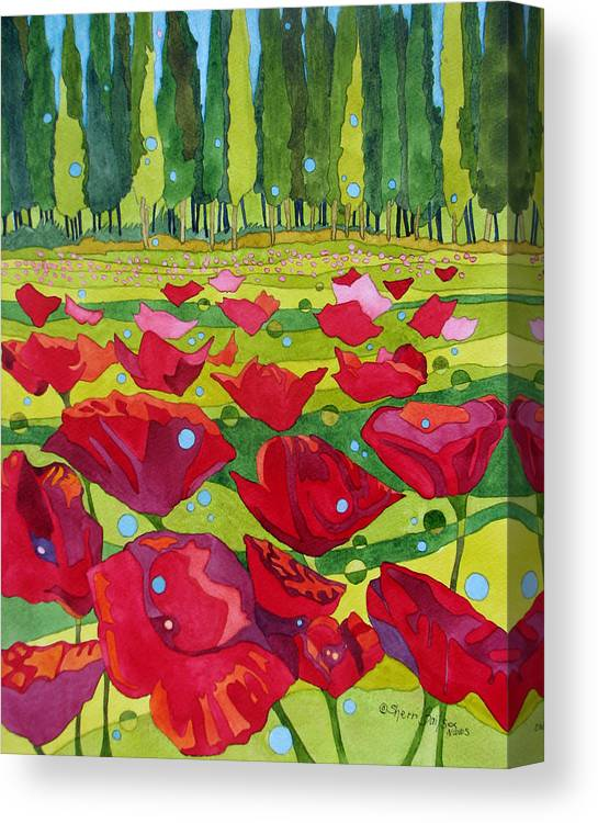 Nature Canvas Print featuring the painting Poppy Fields by Sherri Bails