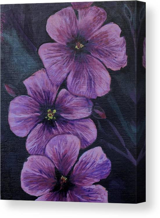 Flowers Canvas Print featuring the painting Purple by Vera Lysenko