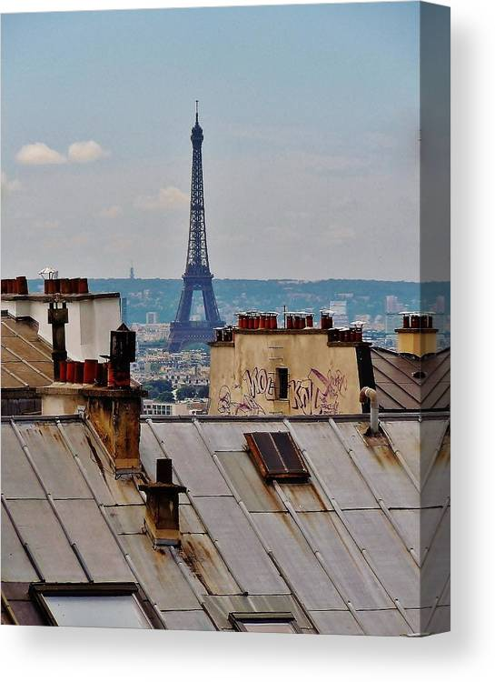 Paris Canvas Print featuring the photograph Rooftops Of Paris And Eiffel Tower by Marilyn Dunlap