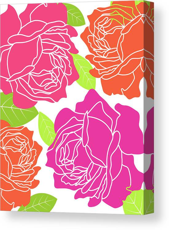 Floral Canvas Print featuring the painting Roses II by Tamara Robinson