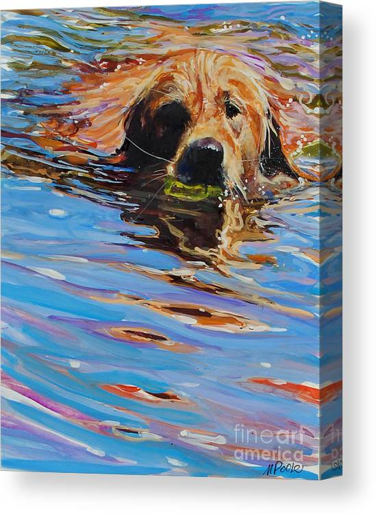Golden Retriever Canvas Print featuring the painting Sadie Has A Ball by Molly Poole