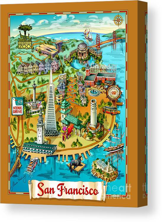 San Francisco Illustrated Map Canvas Print Canvas Art By Maria Rabinky