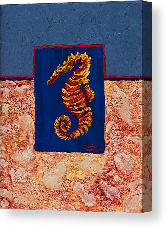 Ocean Animal Canvas Print featuring the painting Seahorse by Darice Machel McGuire