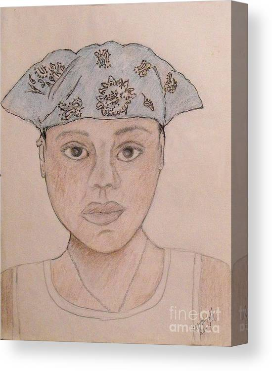 Girl Canvas Print featuring the drawing Self Portrait - Cat by Catherine Ratliff