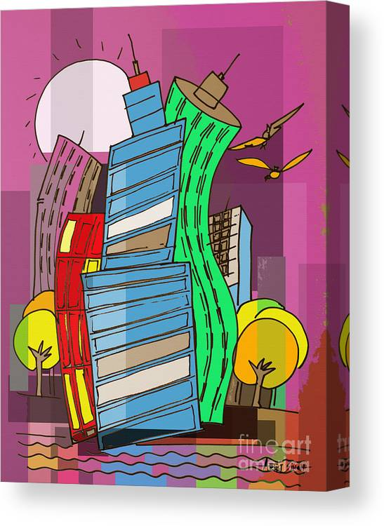 Dubai Canvas Print featuring the painting Skyline 4 by Real ARTIST SINGH