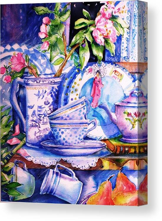 Still Life Canvas Print featuring the painting Still Life With Japanese Plate And Apple Blossom by Trudi Doyle