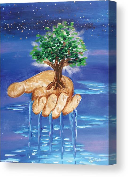 The Hand Of The Lord Canvas Print featuring the painting The Hand Of The Lord by Gary Rowell