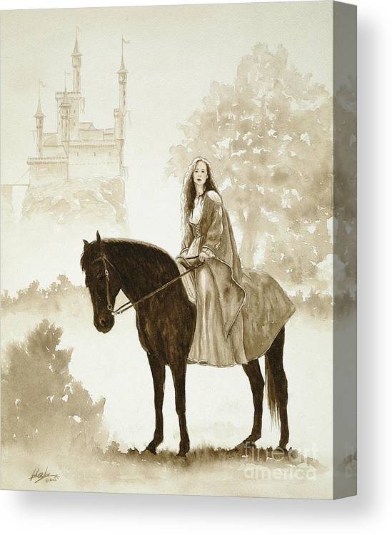 Fantasy Canvas Print featuring the painting The Princess Has A Day Out. by John Silver