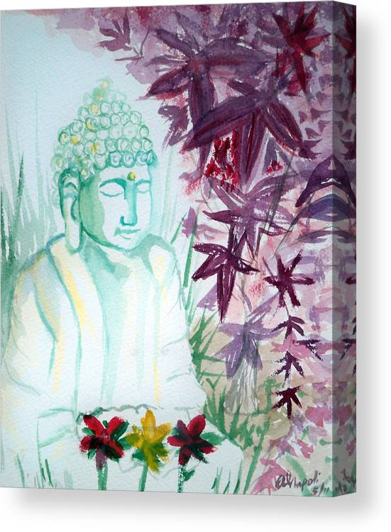 Buddha Canvas Print featuring the painting Buddha Under Maple Tree by Ann Marie Napoli