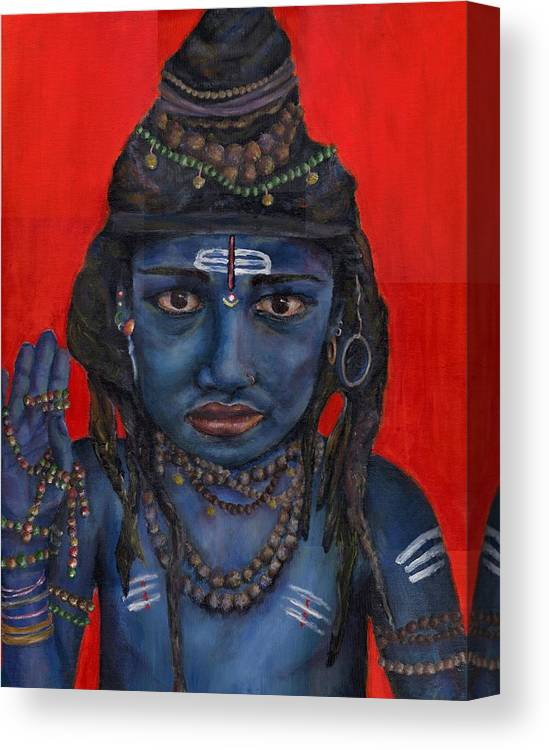 Shiva Canvas Print featuring the painting Shiva Boy by Alayna Borowy