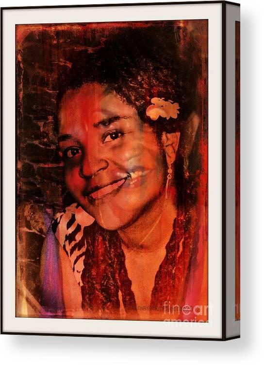 Fania Simon Canvas Print featuring the mixed media Visitor by Fania Simon