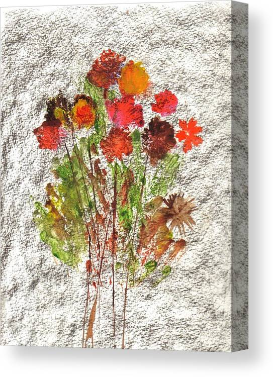 Abstract Flowers Canvas Print featuring the painting Abstract Flowers by Hema Rana