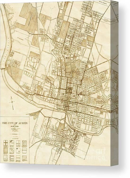 Austin Texas Vintage City Map Canvas Print / Canvas Art by ELITE ...