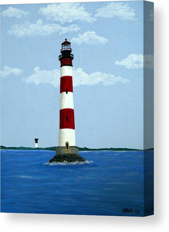 Lighthouse Paintings Canvas Print featuring the painting Morris Island Light by Frederic Kohli
