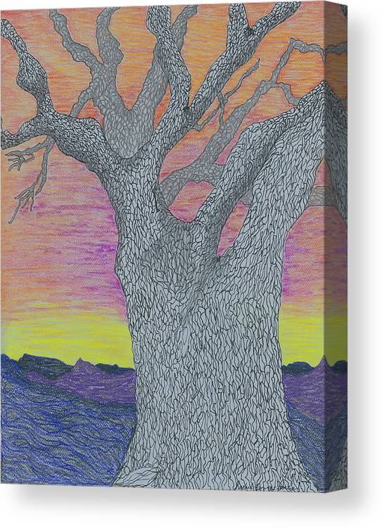 Tree Canvas Print featuring the drawing Oak Tree by Rachel Zuniga