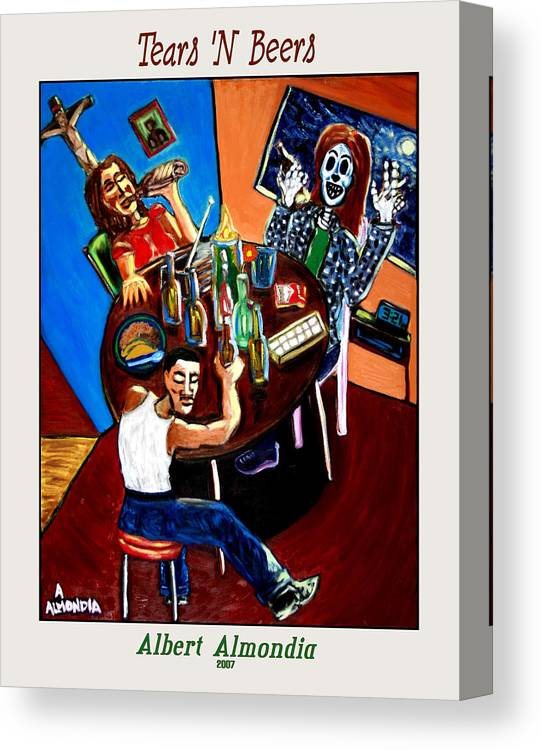 Day Of The Dead Canvas Print featuring the painting Tears 'n Beers by Albert Almondia