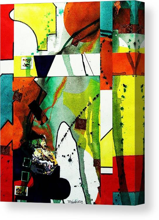 Mixed Media Canvas Print featuring the painting Untitled Abstract by Tom Herrin