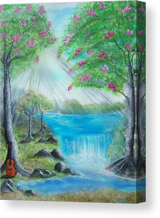 Guitar Canvas Print featuring the painting Waterfall by Tony Rodriguez