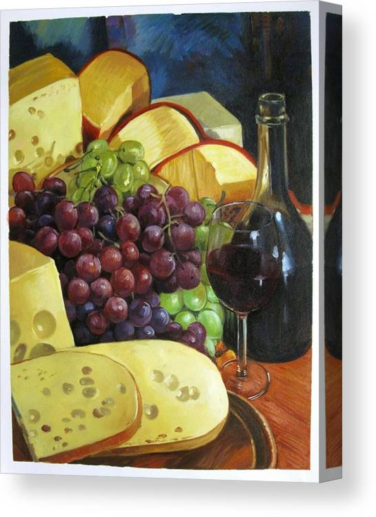 Colorful Canvas Print featuring the painting Wine And Cheese by Aziz Mohammed