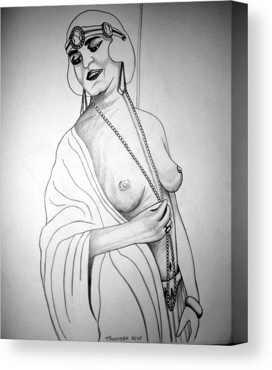 Deco Canvas Print featuring the drawing 1920s Women Series 13 by Tammera Malicki-Wong
