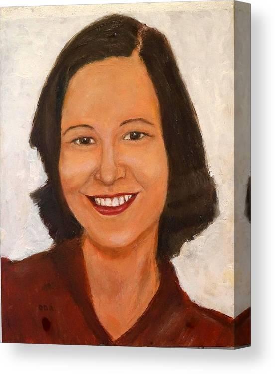 Woman Canvas Print featuring the painting 1980 Portrait by Deborah D Russo
