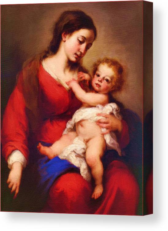 Virgin And Child Canvas Print featuring the digital art Saint Mary Art by Carol Jackson