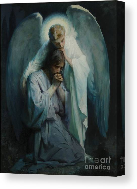 Frans Schwartz Canvas Print featuring the painting Agony In The Garden by Frans Schwartz
