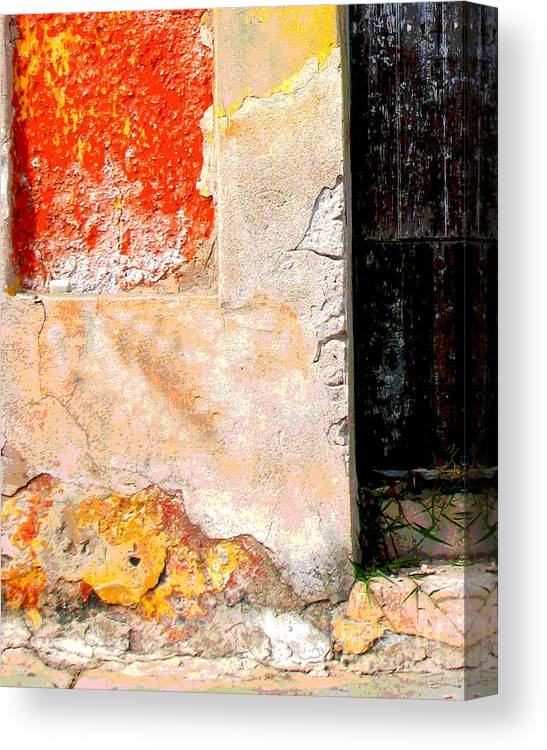 Michael Fitzpatrick Canvas Print featuring the photograph Ancient Wall 4 By Michael Fitzpatrick by Mexicolors Art Photography