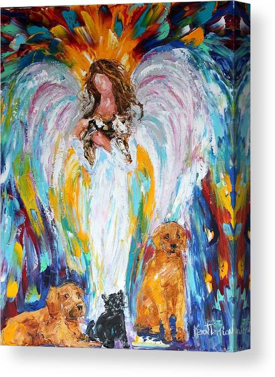 Angel Canvas Print featuring the painting Angel And Pets by Karen Tarlton