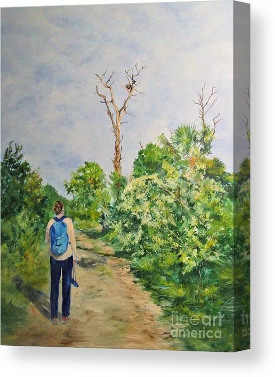 Barbara Moak Canvas Print featuring the painting Birdwatching On Honeymoon Island by Barbara Moak