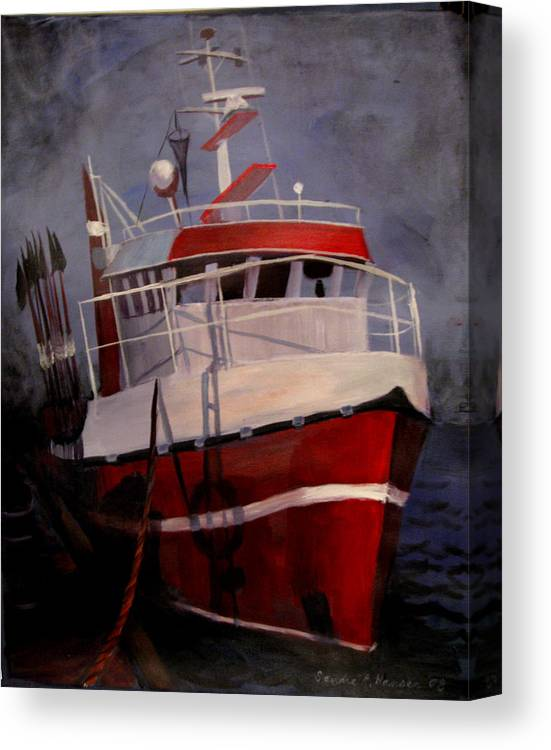 Fishing Canvas Print featuring the painting Bold Power by Art Nomad Sandra Hansen