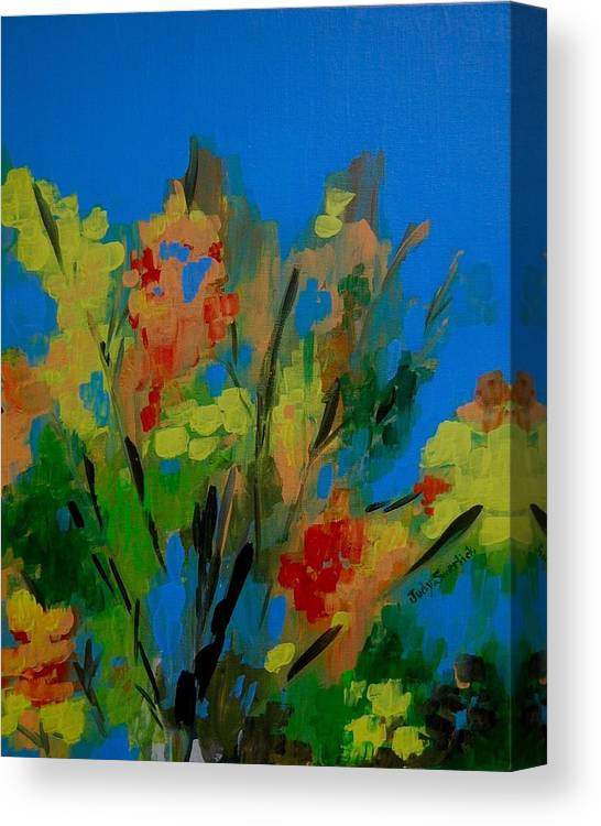 Nature Canvas Print featuring the painting Bright Flowers On Blue by Judy Swerlick