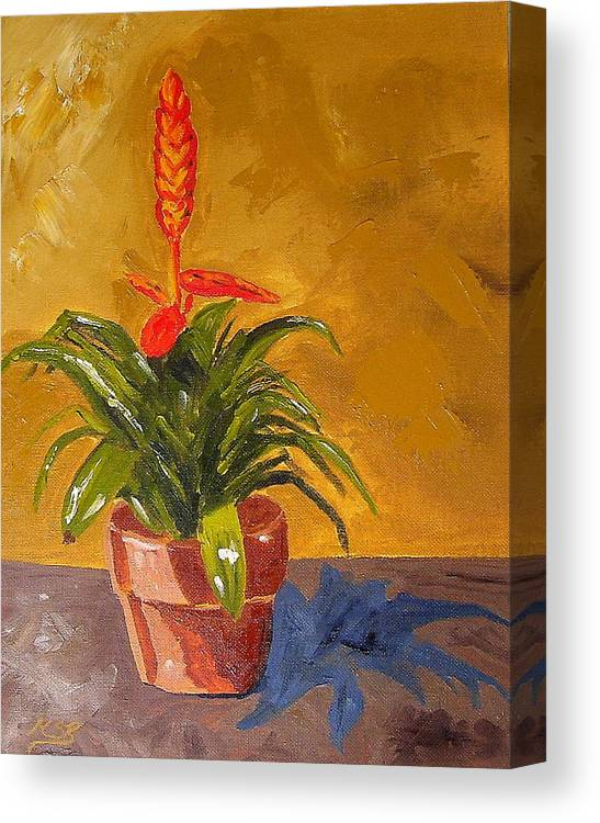 Bromeliad Canvas Print featuring the painting Bromeliad Vriesea by Maria Soto Robbins