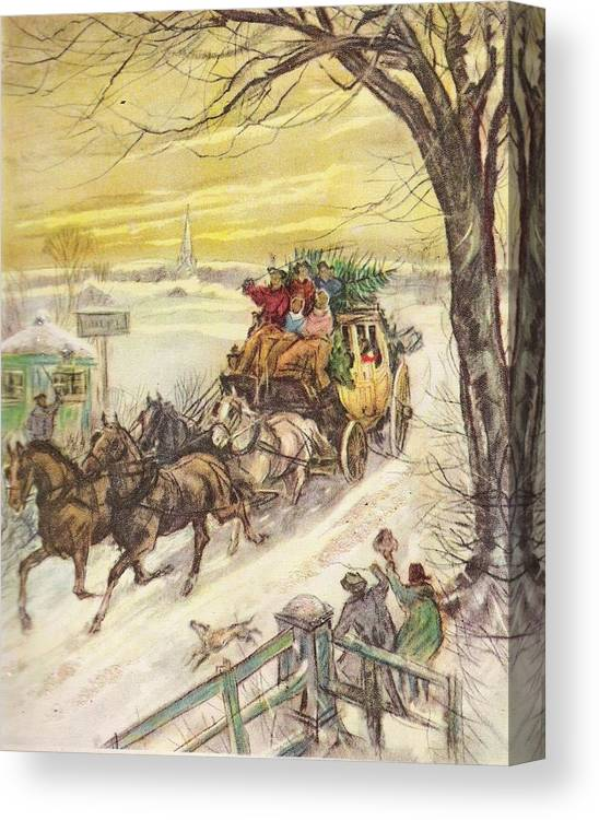 Horse Drawn Carriage Canvas Print featuring the painting Christmas Illustration 829 - Vintage Christmas Cards - Horse Drawn Carriage by TUSCAN Afternoon