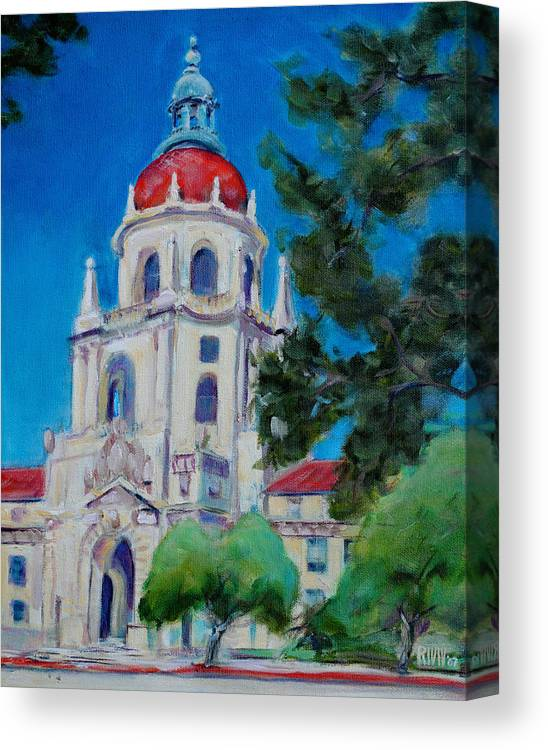 Pasadena. Historic Canvas Print featuring the painting City Hall by Richard Willson