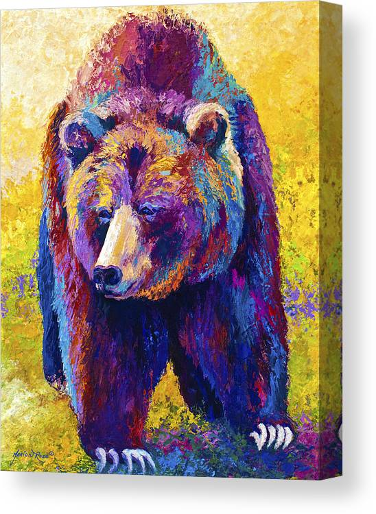 Western Canvas Print featuring the painting Close Encounter - Grizzly Bear by Marion Rose