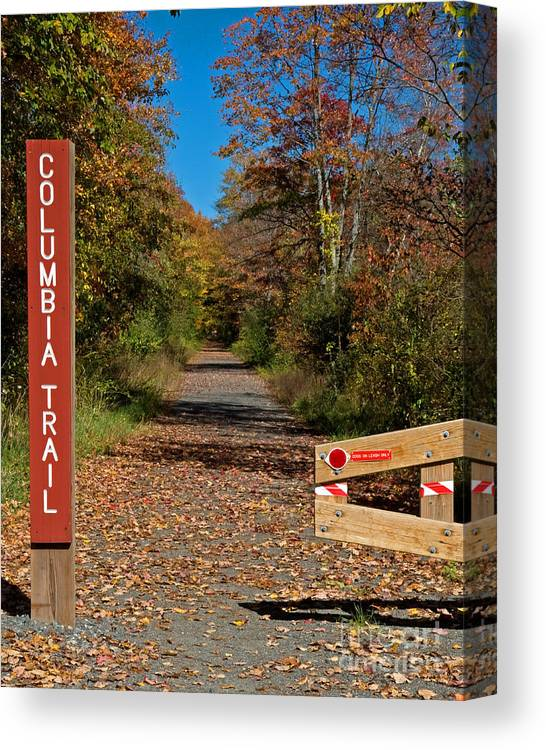 Nature Canvas Print featuring the photograph Columbia Trail Entrance by Robert Pilkington