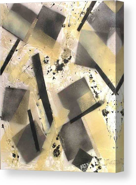 Abstract Canvas Print featuring the painting Construction In Cream by Evguenia Men