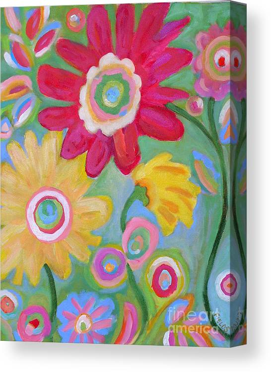 Karen Fields Canvas Print featuring the painting Dream Flowers by Karen Fields