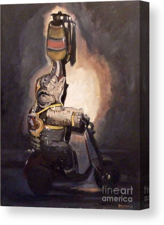 Toy Canvas Print featuring the painting Elephant On Wheels by Deb Putnam