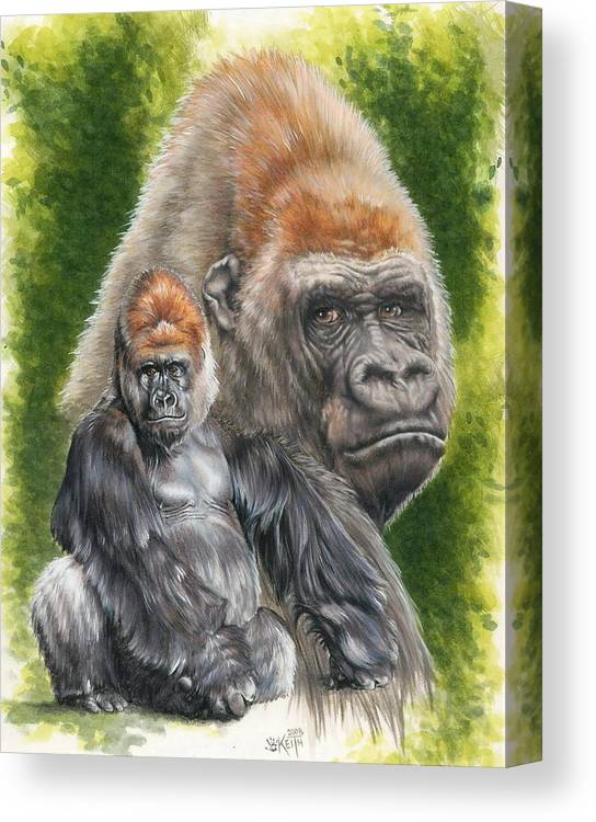 Gorilla Canvas Print featuring the mixed media Eloquent by Barbara Keith